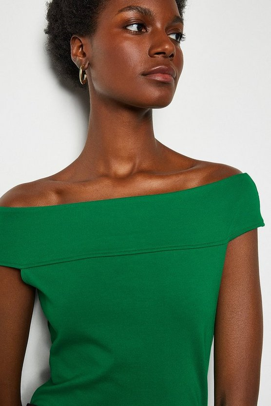 Green Statement Off The Shoulder Top