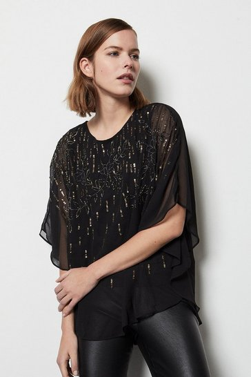 Womens Black Sequin Detail Top