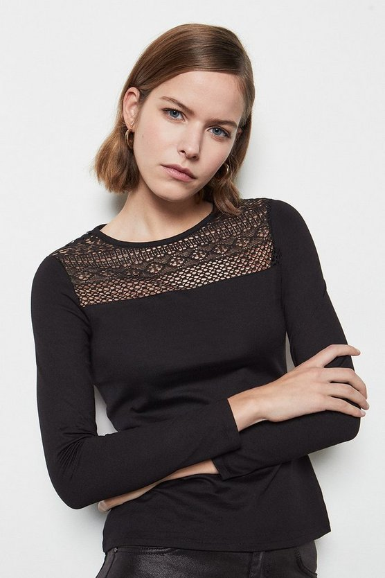 Womens Black Lace Insert Ponte Top