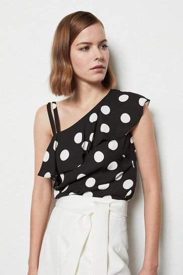 Womens Blackwhite Asymmetric Frill Top
