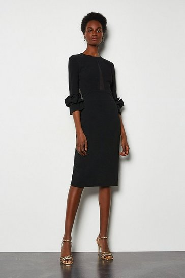 Black Sheer Panel Structured Dress