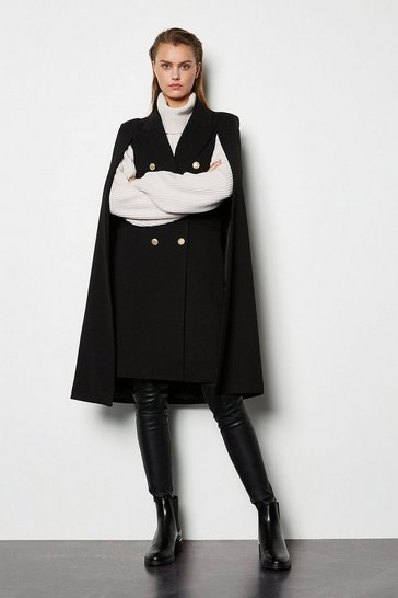 Womens Black Double Breasted Tailored Coat