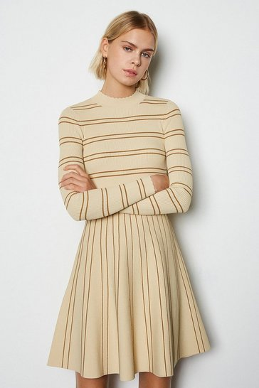 Natural Feminine Stripe Scallop Knit Dress