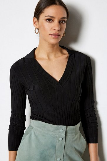 Black 70's Collar V-Neck Rib Jumper