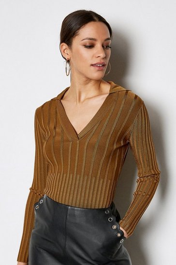 Camel 70's Collar V-Neck Rib Jumper