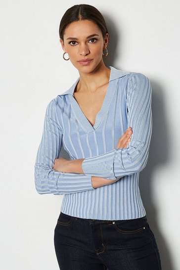 Light blue 70's Collar V-Neck Rib Jumper