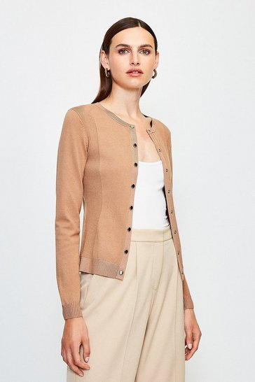 Camel Rib Knit Panel Popper Cardigan