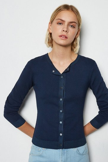 Navy Rib Knit Panel Popper Cardigan