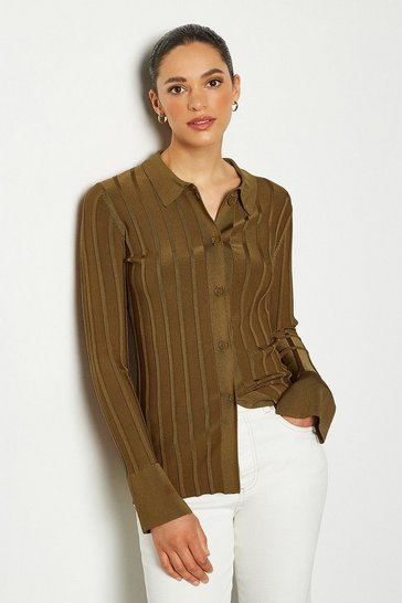 Camel 70's Collar Rib Knit Cardigan Top