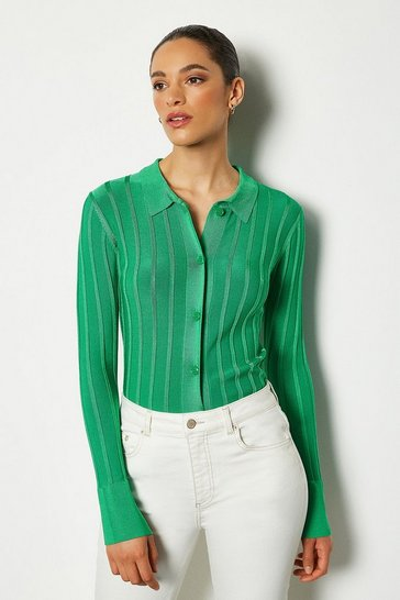 Green 70's Collar Rib Knit Cardigan Top