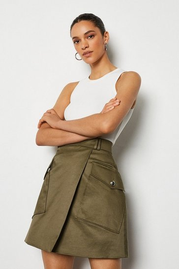 Khaki Military Pocket Mini Skirt