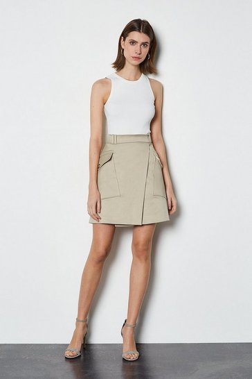 Stone Military Pocket Mini Skirt