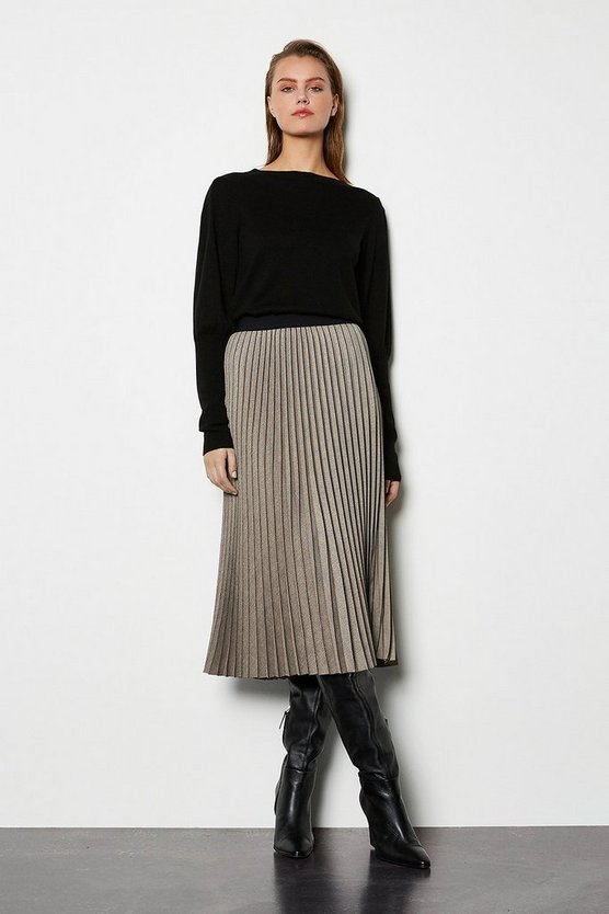 Cream Pleated Tweed Skirt