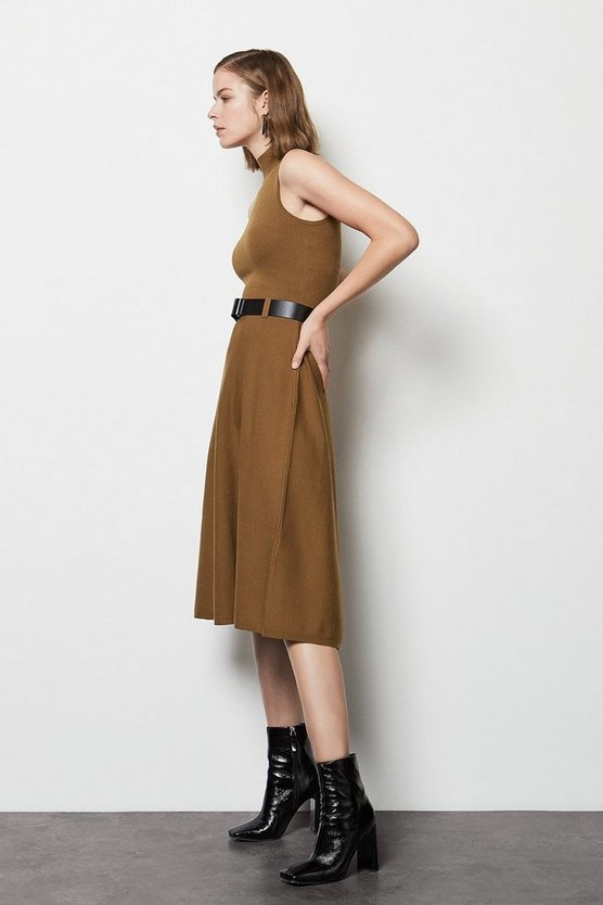 Brown Belted Midi Knit Dress