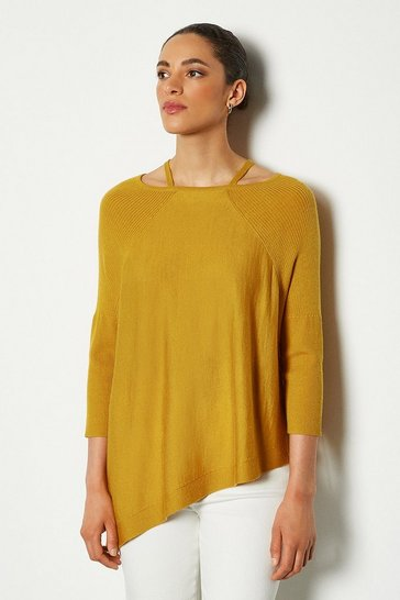 Womens Mustard Fine Gauge Asymmetric Jumper