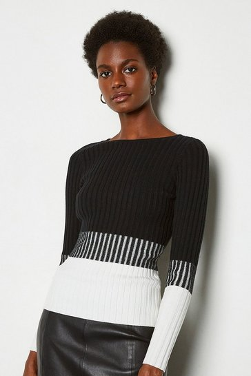 Blackwhite Colourblock Skinny Rib Jumper