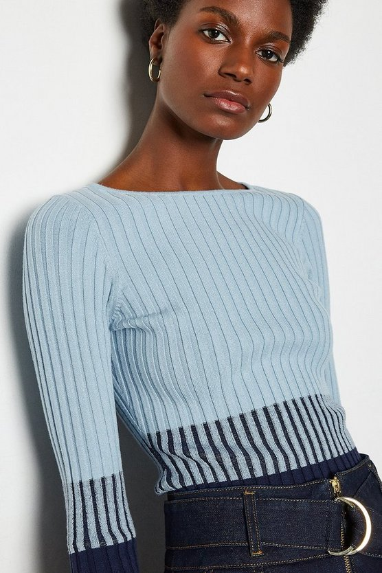 Blue Colourblock Skinny Rib Jumper