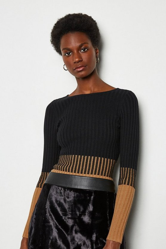Multi Colourblock Skinny Rib Jumper