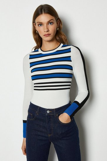 Blue Bold Stripe Knit Jumper