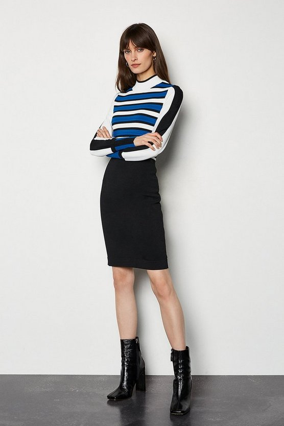 Blue Bold Stripe Knit Dress