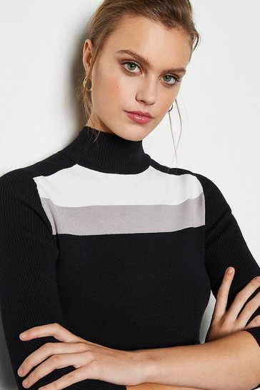 Multi Colour Block Rib Fit and Flare Knit Dress
