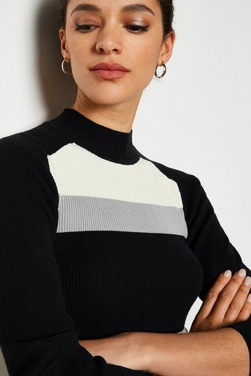 Multi Colourblock Rib Knit Jumper