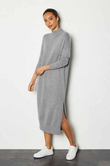 Grey Cashmere Blend Oversized Midi Dress