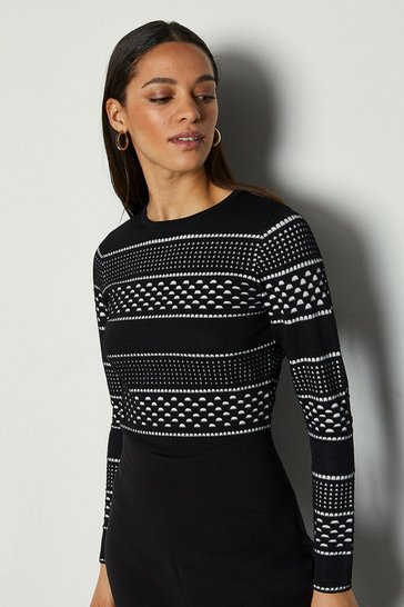 Blackwhite Contrast Mixed Spot Stripe Knit Jumper