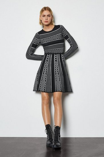 Blackwhite Contrast Mixed Spot Stripe Knit Dress