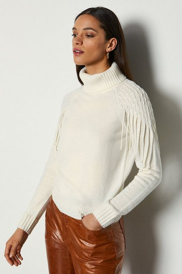 Ivory Cashmere Blend Fringe Shoulder Jumper