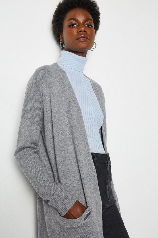 Grey Cashmere Blend Oversized Midi Cardigan