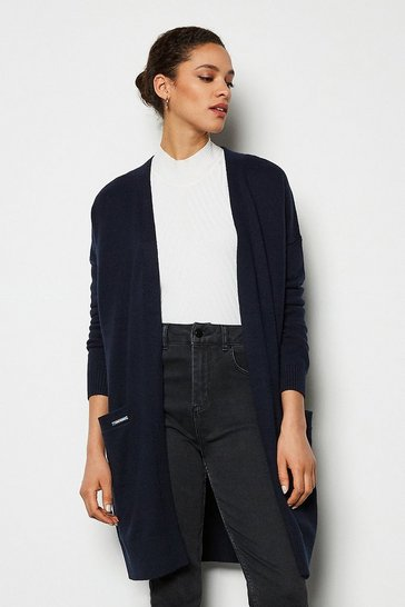Navy Cashmere Blend Oversized Midi Cardigan
