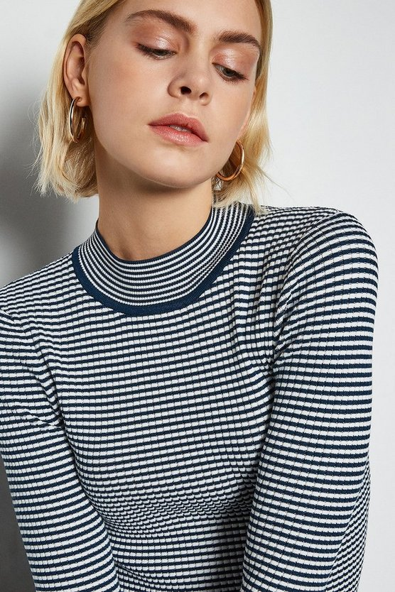 Navy Micro Stripe Funnel Neck Jumper