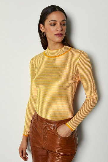 Yellow Micro Stripe Funnel Neck Jumper