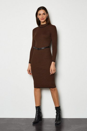 Brown Bodycon Belted Stripe Midi Dress