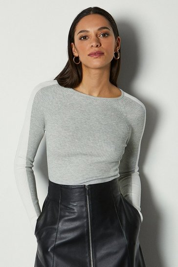 Grey Colour Block Skinny Rib Jumper