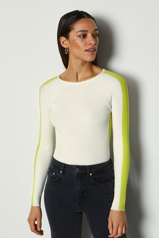 Ivory Colour Block Skinny Rib Jumper