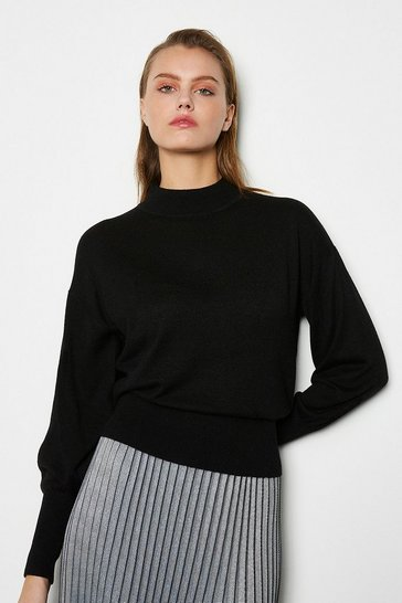 Womens Black Merino Wool Blend Turtle Neck Jumper