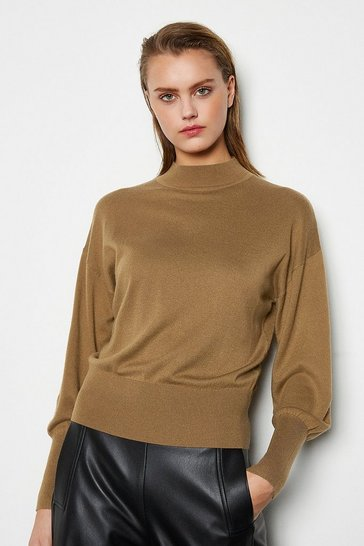 Womens Brown Merino Wool Blend Turtle Neck Jumper