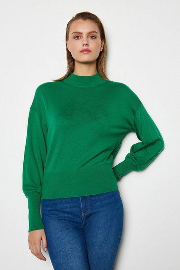 Womens Green Merino Wool Blend Turtle Neck Jumper