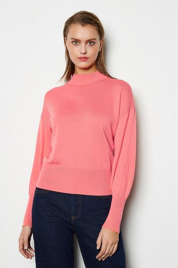 Womens Pink Merino Wool Blend Turtle Neck Jumper