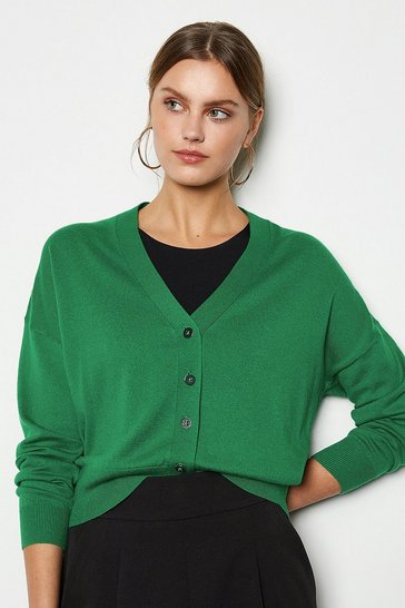 Green Button Front Merino Blend Cardigan