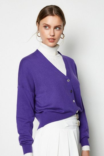 Purple Button Front Merino Blend Cardigan