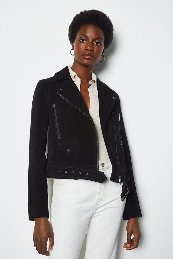 Black Belted Suede Biker Jacket
