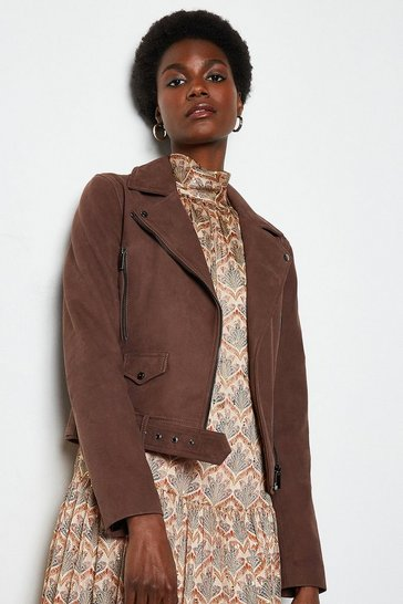 Brown Belted Suede Biker Jacket