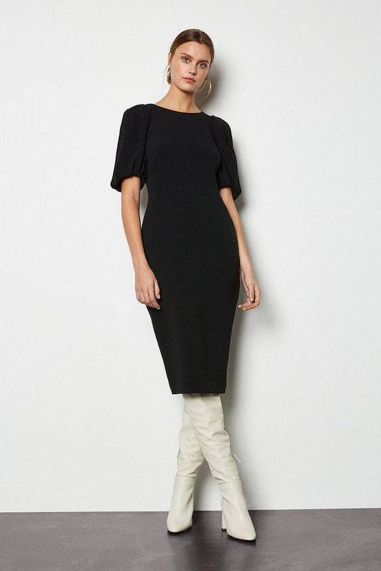 Black Puff Sleeve V-Back Dress