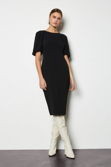 Womens Black Puff Sleeve V-Back Dress