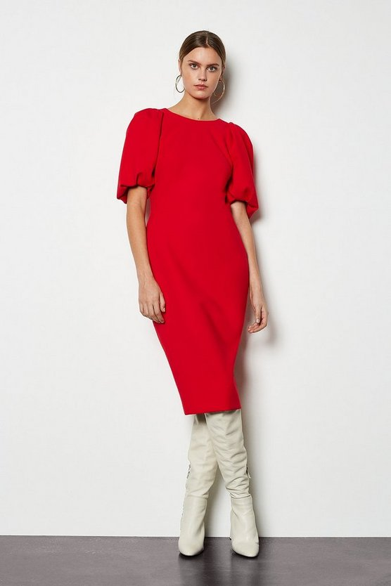 Red Puff Sleeve V-Back Dress