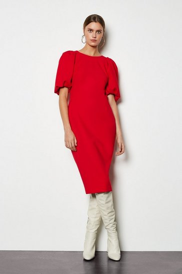 Womens Red Puff Sleeve V-Back Dress