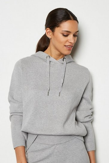 Grey Soft Yarn Hooded Knit Long Sleeve Jumper